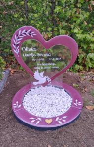 Grafmonument, glazen grafsteen, gedenkteken fusing glas, voor kind, baby, roze, meisje AnnaAnna