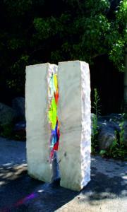 grafsteen met glasornament